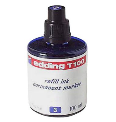 Nachfüllfarbe T100 für Permanentmarker blau 100ml