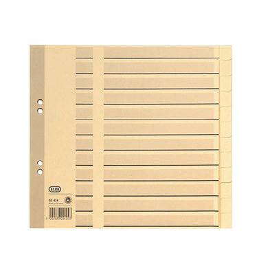 Kartonregister 400012104 blanko A4 halbe Höhe 100g chamois Taben 12-teilig