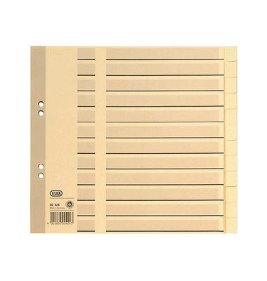 Kartonregister 02424 blanko A4 halbe Höhe 100g chamois Taben 12-teilig