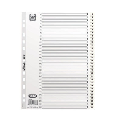 Kunststoffregister 400013948 1-31 A4 0,15mm weiße Taben 31-teilig