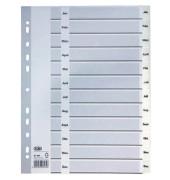 Kunststoffregister 400013900 Januar-Dezember A4 0,15mm weiße Taben 12-teilig