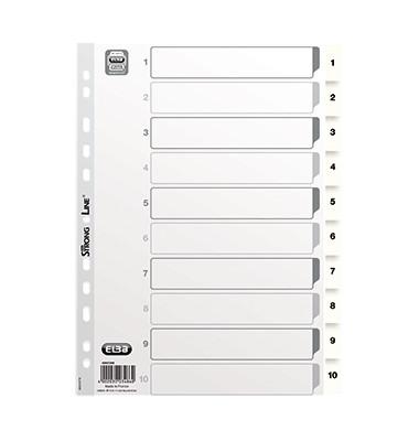Kunststoffregister 400013908 1-10 A4 0,15mm weiße Taben 10-teilig