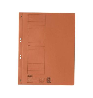 Ösenhefter A4 orange ganzer Vorderdeckel kaufmännische Heftung / Amtsheftung