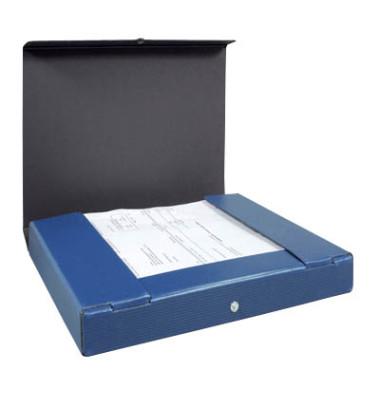Dokumentenmappe RC-Hartp. A4 blau 4cm hoch Druckkn.