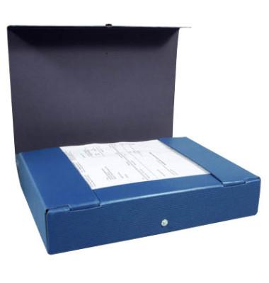 Sammelbox RC-Hartpappe A4 blau 6cm hoch mit Druckknopf