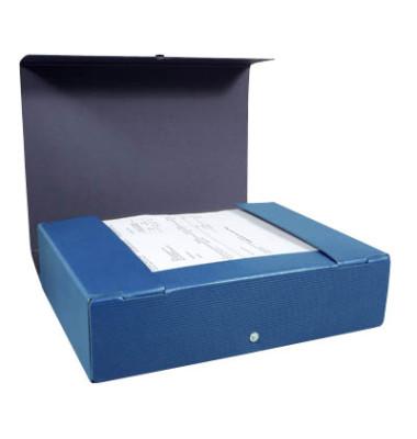 Dokumentenmappe RC-Hartp. A4 blau 8cm hoch Druckkn.