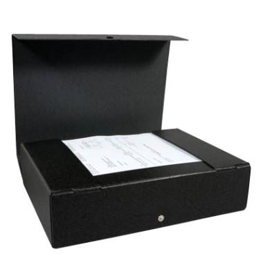Dokumentenmappe RC-Hartp. A4 schwarz 8cm hoch Druckkn.