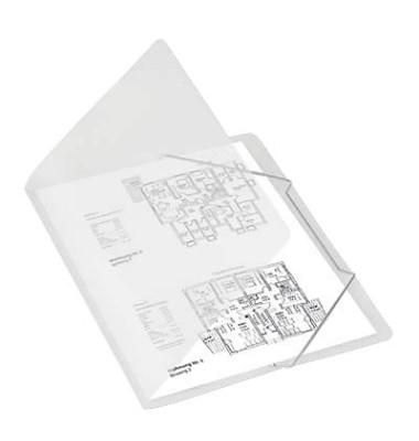 Eckspanner A4 PP farblos für 50 Blatt mit Eckspanngummi