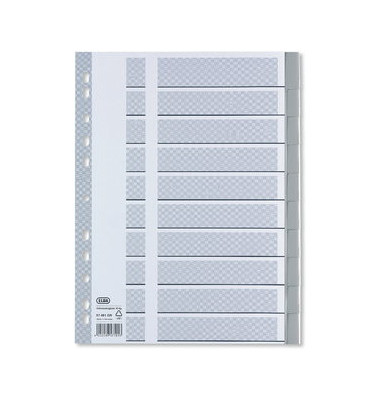 Register 57491 blanko A4 0,2mm grau Taben 10-teilig Fenstertabe