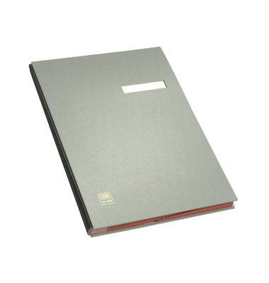 Unterschriftenmappe 41403 A4 Kunststoff grau mit Einsteckschild 20 Fächer