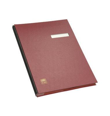 Unterschriftenmappe 41403 A4 Kunststoff rot mit Einsteckschild 20 Fächer