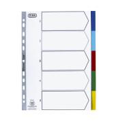Kunststoffregister 400013909 blanko A4 0,12mm farbige Taben 5-teilig