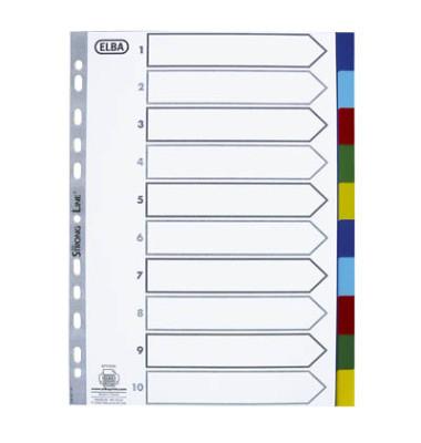 Kunststoffregister 400013939 blanko A4 0,12mm farbige Taben 10-teilig