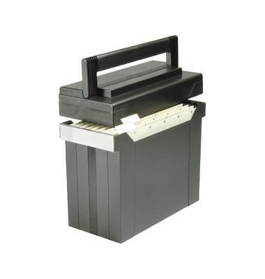 Hängemappenbox Go-Set schwarz A4 mit Deckel inkl 5 Mappen 367x171x298mm