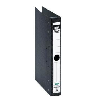Hängeordner rado A4 schwarz 50mm 2-Ring-Kipphebelmechanik Hartpappe Recycling mit Griffloch 100081046