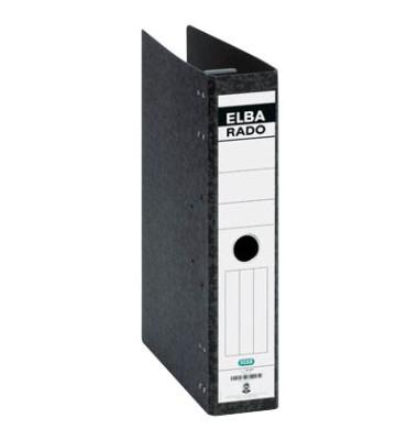 Hängeordner rado A4 schwarz 75mm 2-Ring-Kipphebelmechanik Hartpappe Recycling mit Griffloch 100081047