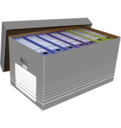 Umzugskarton tric Wellpappe A4 grau/weiß 300x350x585mm mit Deckel