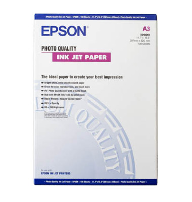 Inkjet-Fotopapier A3 S041068 Photo Quality einseitig matt 104g 100 Blatt