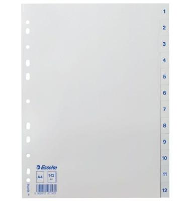 Kunststoffregister Economy 100153 1-12 A4 0,12mm weiße Taben 12-teilig
