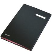 Unterschriftenmappe 62106 A4 Kunststoff schwarz mit Einsteckschild 20 Fächer
