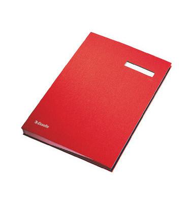 Unterschriftenmappe 62106 A4 Kunststoff rot mit Einsteckschild 20 Fächer