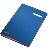 Unterschriftenmappe 62106 A4 Kunststoff blau mit Einsteckschild 20 Fächer