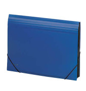 Fächertasche A4 m.Bodenfalte blau 12 Fächer PP opak