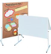 Moderationstafel CC CC-UMTK-G, 120x150cm, Karton + Karton (beidseitig), pinnbar, klappbar, weiß + weiß