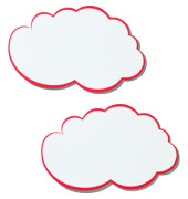 Moderationskarte Wolken mit rotem Rand weiß 37x62cm 20 Stück