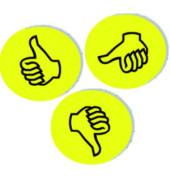 Wertungssymbole Daumen gelb Durchm.9,5cm 100 St