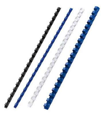 Plastikbinderücken CombBind 4028194 weiß US-Teilung 21 Ringe auf A4 45 Blatt 8mm 100 Stück