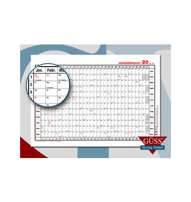 Plakatkalender Nr.3 12Monate/1Seite A3-quer mit Versandrohr 40x30cm 2020