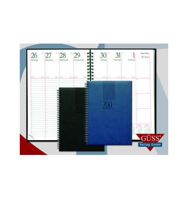 Buchkalender Eurotimer 1Woche/2Seiten schwarz 17,2x24cm 2021