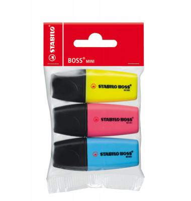 Textmarker Boss Mini 3er Etui farbig sortiert 2-5mm Keilspitze