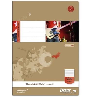 Musikheft Basic A5 6 Notensysteme 16 Blatt