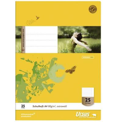 Schulheft Basic A4 Lineatur 25 liniert mit Rand weiß 32 Blatt