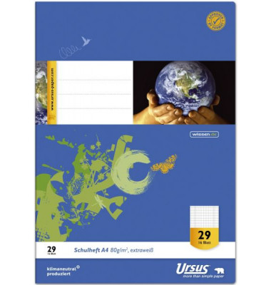 Schulheft Basic A4 Lineatur 29 rautiert mit Doppelrand weiß 16 Blatt