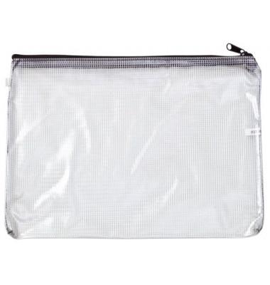 Reißverschlusstasche Mesh Bag PVC A6 190x155mm farblos/schwarz