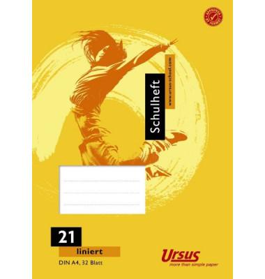 Schulheft Basic A4 Lineatur 21 liniert weiß 32 Blatt