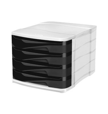 Schubladenbox Ellypse weiß/schwarz 4 Schubladen geschlossen