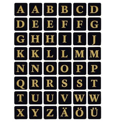 Buchstabenetikett schw./gold A-Z 13x13
