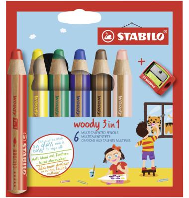 Farbstiftetui Woody 6 Stück mit Spitzer