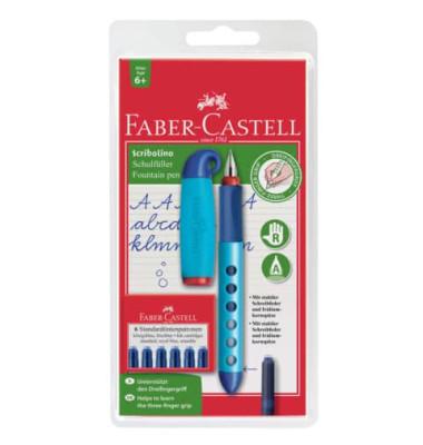 Füller Scribolino farbig sortiert Rechtshänder Feder A  inklusive 6 Patronen
