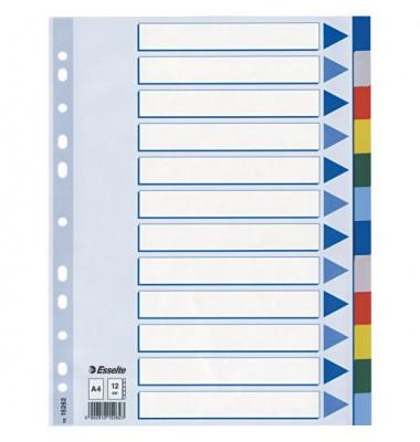 Kunststoffregister 15262 blanko A4 0,12mm farbige Taben 12-teilig