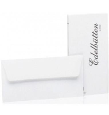 Designbriefumschläge Edelbütten Din Lang ohne Fenster nassklebend 100g weiß 20 Stück