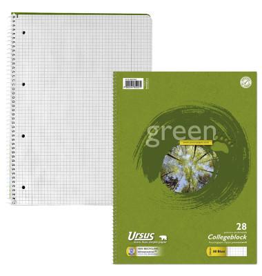 Collegeblock Green 608575020, A4 kariert, 70g 80 Blatt