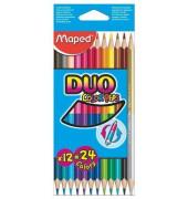 Buntstifte ColorPeps Duo 24-farbig sortiert auf 12 Stifte