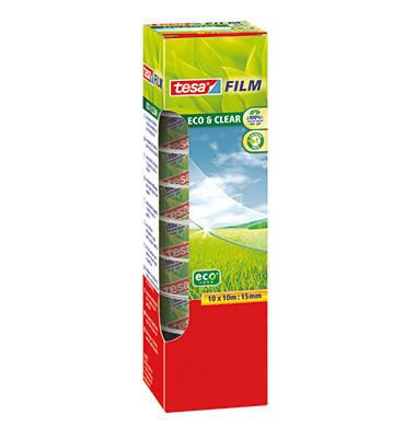 Klebeband Eco & Clear 15mm x 10m transparent 10 Rollen