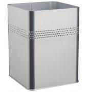 Stahlpapierkorb 18,5 Liter silber eckig 4 Reihen perf.
