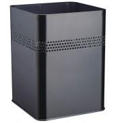 Stahlpapierkorb 18,5 Liter schwarz eckig 4 Reihen perf.